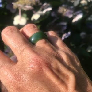 10mm Wide Band Ring Nephrite Jade Women